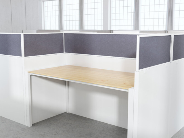 Acoustical panels with Azure Fabric and white frame