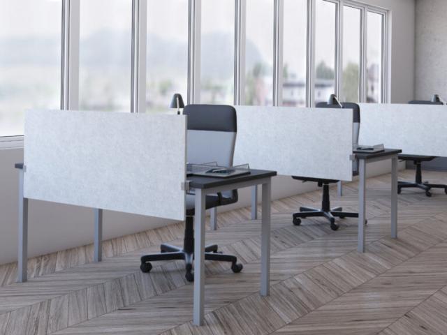acoustical split screen desk mount privacy